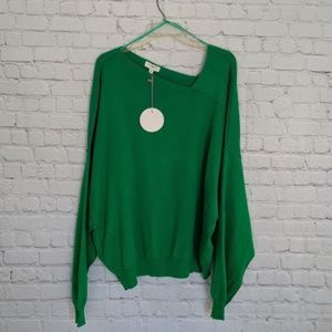 umgee | Green Sweater Asymmetric Neckline Long L